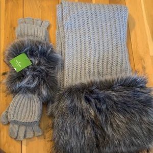 Kate Spade Fur Scarf and gloves set